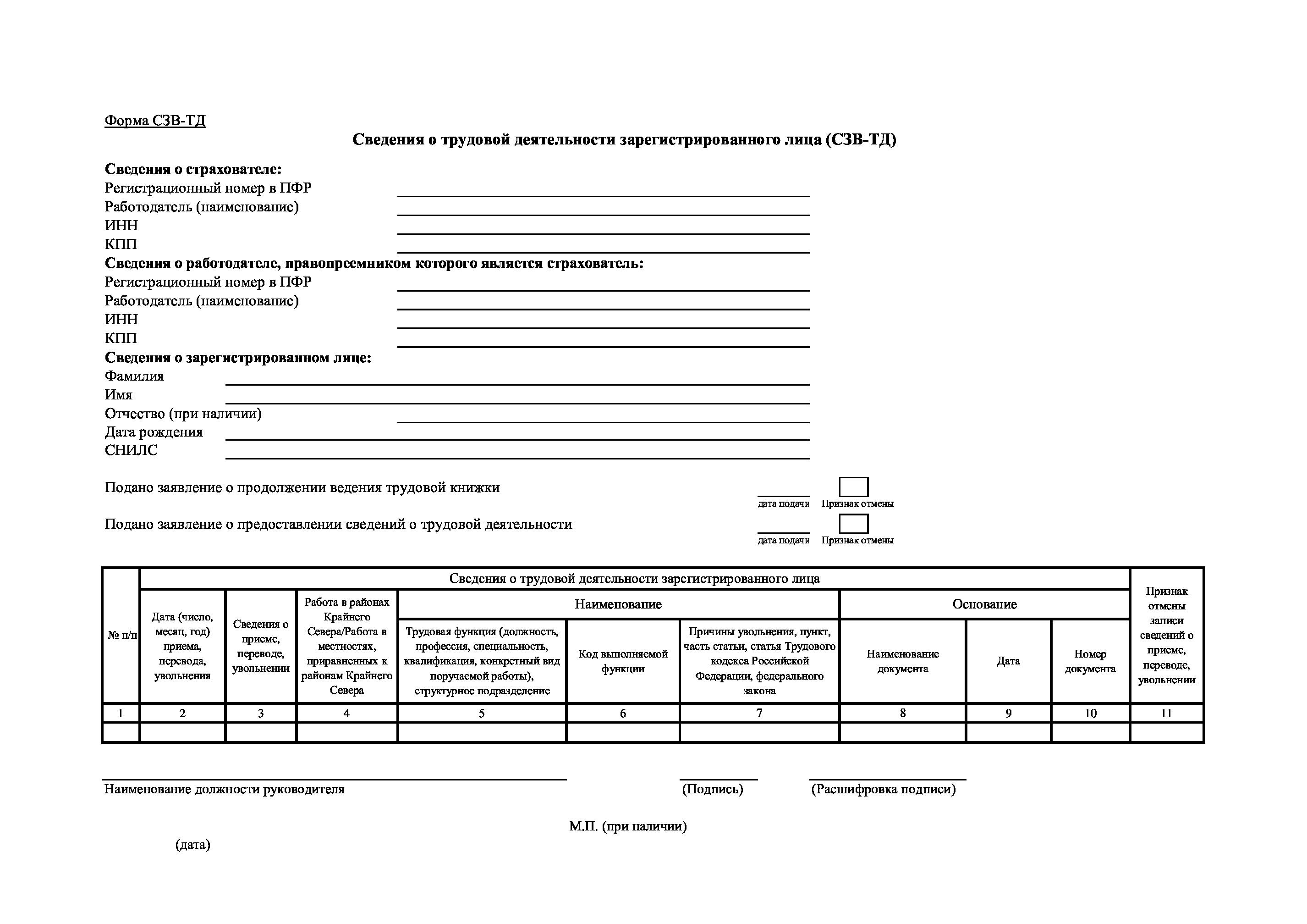 Форма СЗВ-ТД, применяемая с 01.08.2021 года